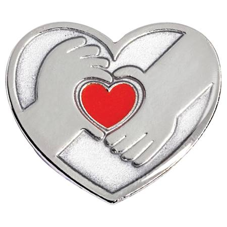 Award Pin - Silver Hands and Red Heart