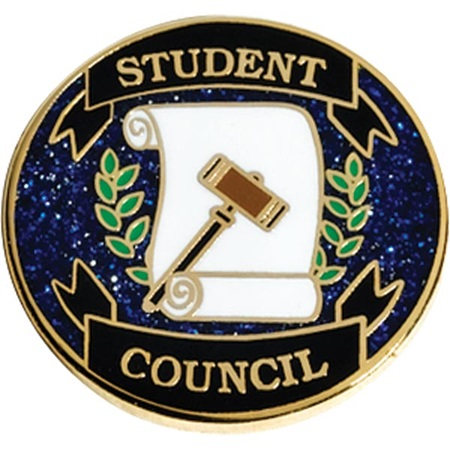 Student Council Award Pin - Blue Glitter