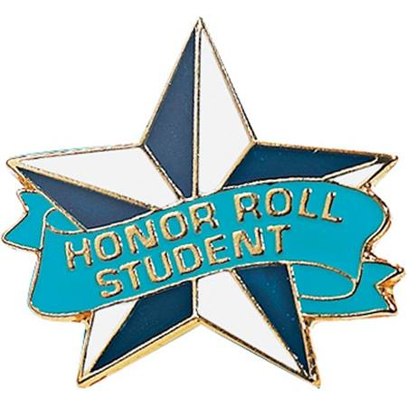 Honor Roll Award Pin - Blue and White Star