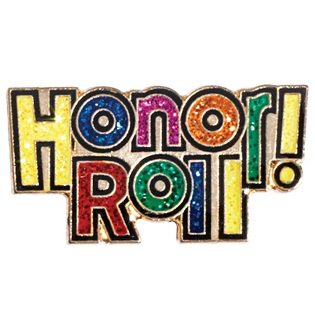 Honor Roll Award Pin - Glitter Words