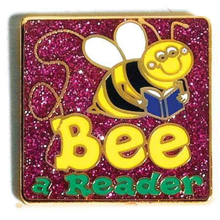 Reading Award Pin - Glitter Bee A Reader