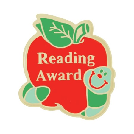 Reading Award Pin - Worm and Apple