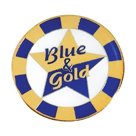 Blue and Gold Award Pin - Star and Ring