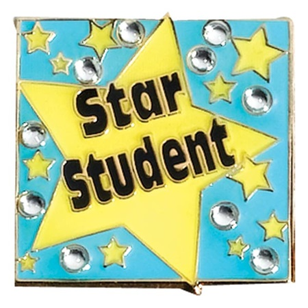 Star Student Award Pin - Stars and Rhinestones