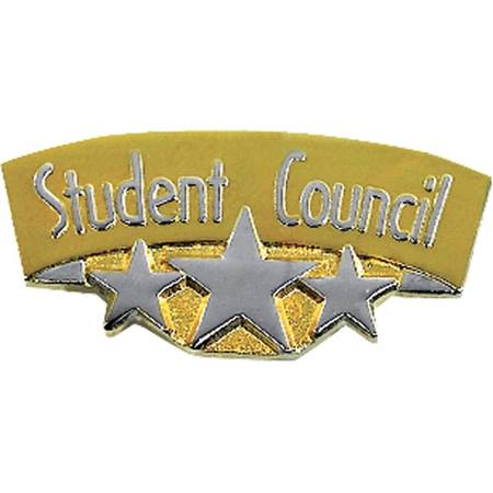 Student Council Award Pin - Gold With Silver Stars
