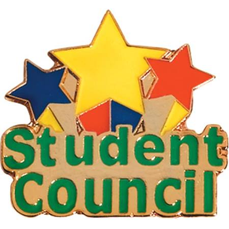 Student Council Award Pin - Color Stars and Words