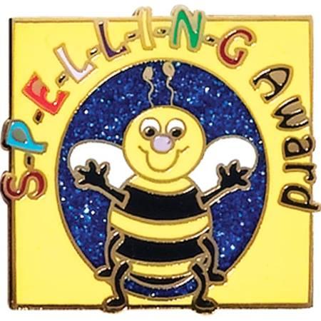 Spelling Award Pin - Bee on Blue Glitter
